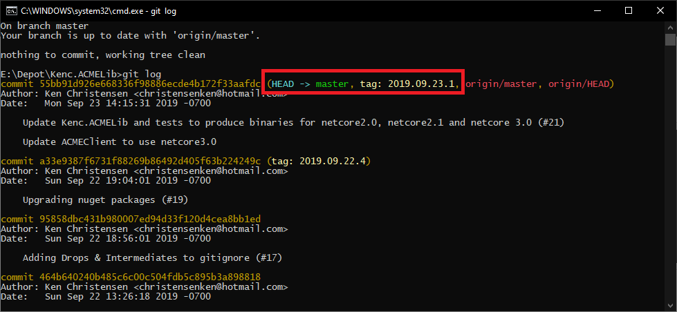Screenshot of Git log showing the version tag was added on the target commit