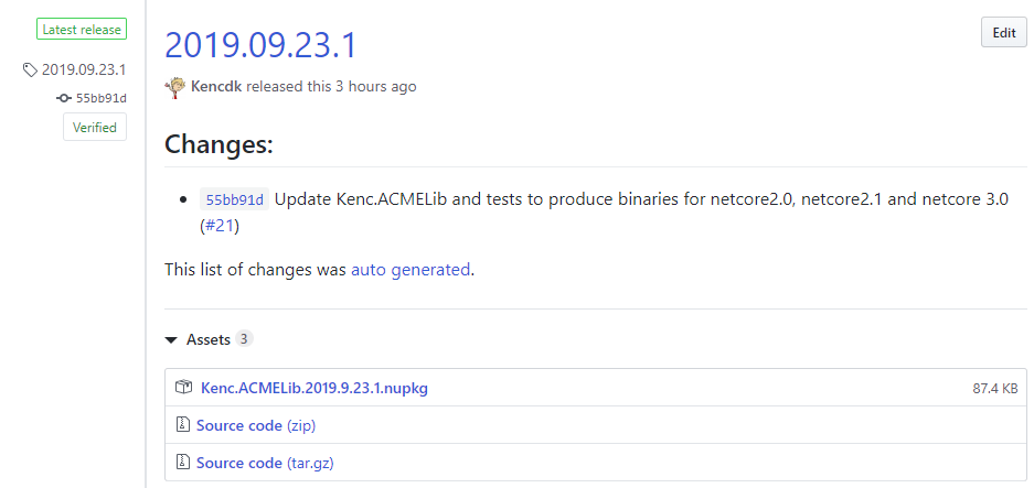 Screenshot of GitHub release of Kenc.ACMELib